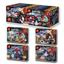 LELE 34072 34072-1 34072-2 34072-3 34072-4 Xếp hình kiểu Lego SPIDER-MAN Spider-Man's Guardian Time And Space Channel Human Armony 4 Bộ Giáp Của Người Nhện gồm 4 hộp nhỏ 340 khối