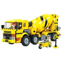 Winner 7076 Xếp hình kiểu Lego CITY Little Engineers Small Engineer Cement Mixer Xe Tải Trộn Xi Măng 328 khối