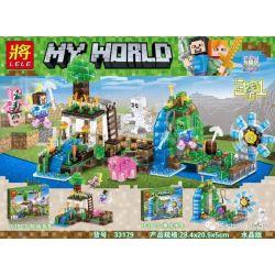Lele 33179 (NOT Lego Minecraft Pasture Turbulence, Fishing Boat Waterwheel Crystal Edition ) Xếp hình Bến Tàu Và Đồng Cỏ Pha Lê gồm 2 hộp nhỏ 324 khối