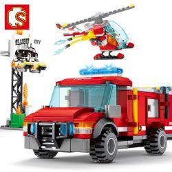 SEMBO 603035 Xếp hình kiểu Lego FIRE RESCURE Fire Frontline Fire Front Line Fire Helicopter Load Máy Bay Trực Thăng Chữa Cháy 317 khối