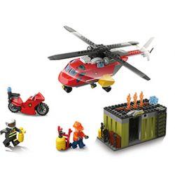 QIZHILE 21004 Xếp hình kiểu Lego CLASSIC Fire Helicopter Trực thăng cứu hỏa 310 khối