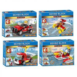 Sembo 603041 603042 603043 603044 (NOT Lego City 4 Models 3In1 ) Xếp hình Phương Tiện Cứu Hỏa: Xe Cứu Hộc, Xe Chữa Cháy, Thuyền Cứu Hỏa, Máy Bay Chữa Cháy gồm 4 hộp nhỏ 314 khối