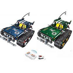 MOULDKING 13025 13026 Xếp hình kiểu Lego TECHNIC TECHINQU Kinetic Wisdom High-speed Shockproof Track Car Stripper (blue), Cross-overer (green) Xe Địa Hình Bánh Xích Điều Khiển Từ Xa gồm 2 hộp nhỏ 626