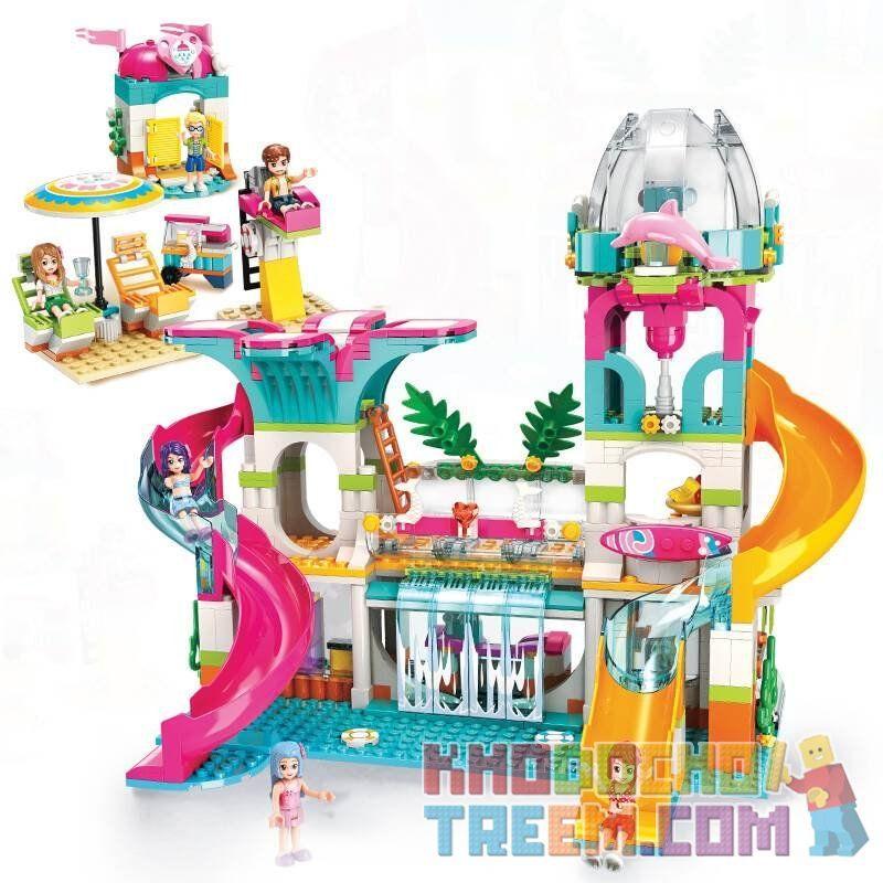 Enlighten 2022 Qman 2022 KEEPPLEY 2022 Xếp hình kiểu Lego FRIENDS Cherry Công viên nước 828 khối