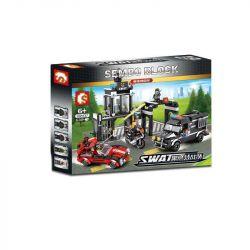 SEMBO 102437 Xếp hình kiểu Lego SWAT SPECIAL FORCE Black Eagle Gangster Robbery Bảo Vệ đồn Cảnh Sát 638 khối
