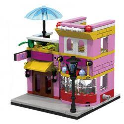 PanlosBrick 657007 Panlos Brick 657007 Xếp hình kiểu Lego MINI MODULAR Streetscape City Street View Ice Cream Store Cửa Hàng Kem 145 khối