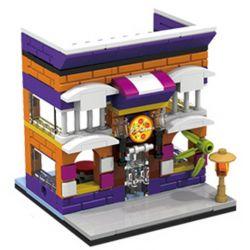PanlosBrick 657009 Panlos Brick 657009 Xếp hình kiểu Lego MINI MODULAR Streetscape City Street View Pizza Store Cửa Hàng Bánh Pizza 145 khối