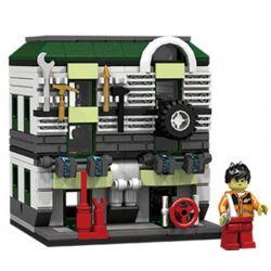 PanlosBrick 657014 Panlos Brick 657014 Xếp hình kiểu Lego MINI MODULAR Streetscape City Street View Auto Repair Store Gara ô Tô 310 khối