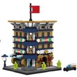 PanlosBrick 657015 Panlos Brick 657015 Xếp hình kiểu Lego MINI MODULAR Streetscape Bank City Street View Bank Ngân Hàng 310 khối