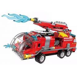 Enlighten 1805 (NOT Lego City Truck ) Xếp hình Xe Cứu Hỏa Cỡ Lớn Được Kết Hợp Bởi Máy Bay, Trực Thăng, Thuyền, Ca Nô Cứu Hỏa gồm 8 hộp nhỏ 313 khối