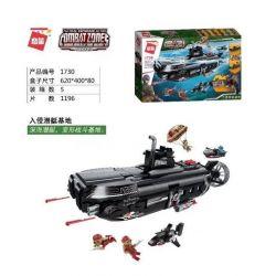 Enlighten 1730 Qman 1730 KEEPPLEY 1730 Xếp hình kiểu Lego MILITARY ARMY COMBAT ZONES Đột nhập căn cứ tàu ngầm 1196 khối