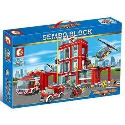 Sembo 603037 (NOT Lego Fire rescure Fire Department ) Xếp hình Trụ Sở Cứu Hỏa 908 khối