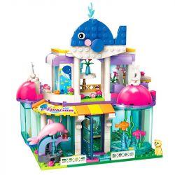 Enlighten 2012 Qman 2012 Xếp hình kiểu Lego CHERRY Colorful Holiday Blue Whale Aquarium Thủy Cung Cá Voi Xanh 327 khối