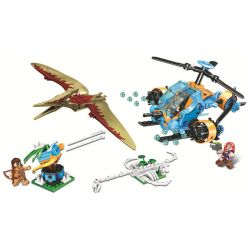 Winner 8049 Xếp hình kiểu Lego JURASSIC WORLD Dinosaur Capture Helicopter Jurassic Warfare Dragon Helicopter Trực Thăng Thám Hiểm 307 khối