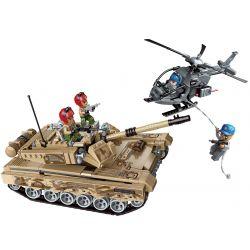 Enlighten 1729 Qman 1729 Xếp hình kiểu Lego MILITARY ARMY COMBAT ZONES Battlefield Air Strike Heavy Armor Tank Xe Tăng Hạng Nặng 712 khối