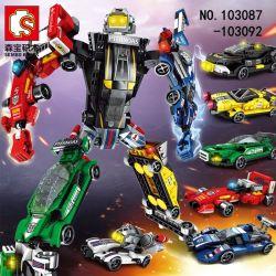 SEMBO 103087 103088 103089 103090 103091 103092 Xếp hình kiểu Lego TRANSFORMERS Mecha Of Steel Steel Machine Change Racing King Robot Xe đua gồm 6 hộp nhỏ lắp được 7 mẫu 657 khối