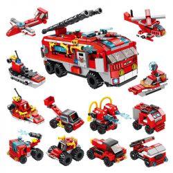 Panlosbrick 633016 (NOT Lego Fire rescure City Fire Brigade ) Xếp hình Đội Cứu Hỏa Thành Phố 12 Trong 1 561 khối