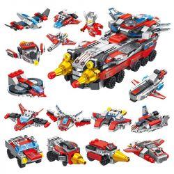 PanlosBrick 690012 Panlos Brick 690012 Xếp hình kiểu Lego ULTRAMAN Altman Flying Chariot 12in1 Xe Tăng Siêu Nhân điện Quang 12 Trong 1 551 khối