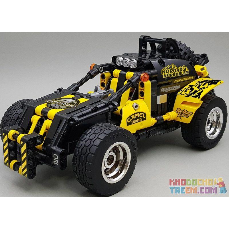 Decool 3806 Jisi 3806 Xếp hình kiểu Lego TECHNIC MecFactor:4x4 OFF-Roader Racer Xe đua địa hình 4x4 392 khối có động cơ kéo thả