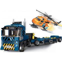 Winner 5024 Xếp hình kiểu Lego ROCK CITY Locke City Trailer Trailer Helicopter Trailer Trailer Trực Thăng 320 khối