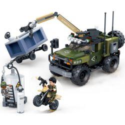 GUDI 8034 Xếp hình kiểu Lego TIGER HUNT Tiger Hunt Intercept War Hunting Pursuit Interception Xe Cần Cẩu Có Súng Máy 304 khối