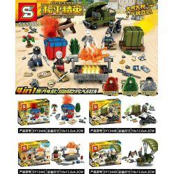 Sheng Yuan 1344 SY1344 (NOT Lego Game for Peace ) Xếp hình Nướng Gà Trên Chiến Trường gồm 4 hộp nhỏ