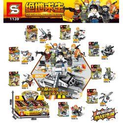Sheng Yuan 1139 (NOT Lego Game for Peace ) Xếp hình Súng Phòng Không, Xe Cảnh Sát, Địa Hình, Thuyền Buồm Nhỏ, Máy Bay Trinh Sát, Trực Thăng Chiến Đấu Vũ Trang gồm 8 hộp nhỏ