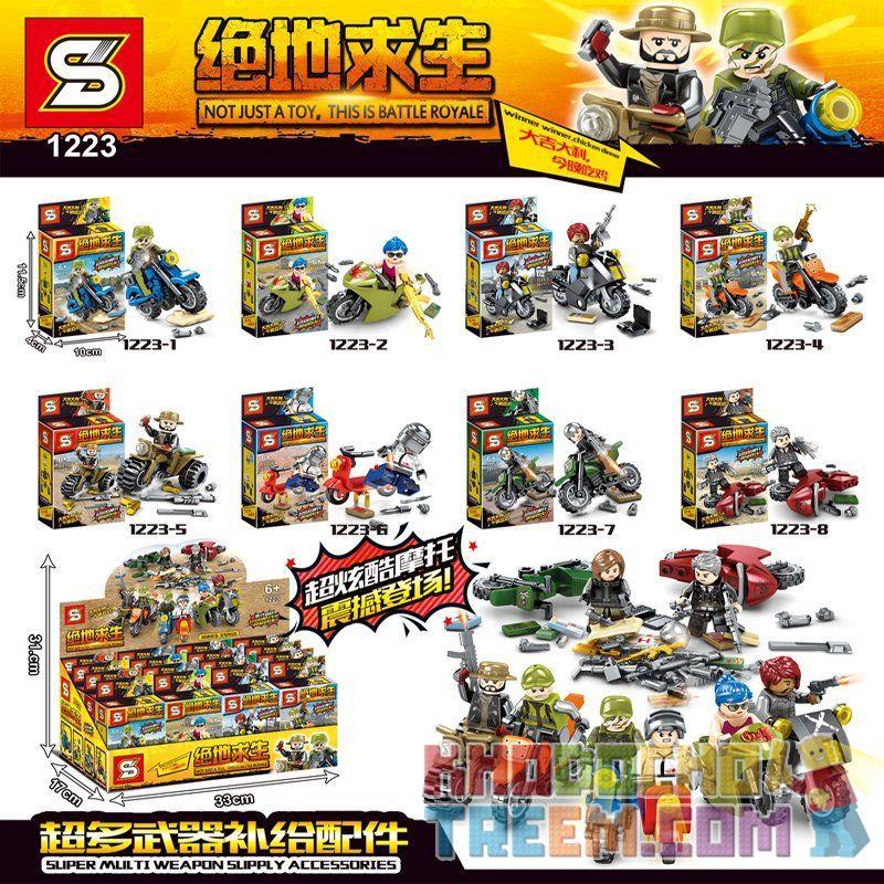 SHENG YUAN SY 1223 1223-1 1223-2 1223-3 1223-4 1223-5 1223-6 1223-7 1223-8 Xếp hình kiểu Lego COLLECTABLE MINIFIGURES 8 tay súng lái mô tô gồm 8 hộp nhỏ