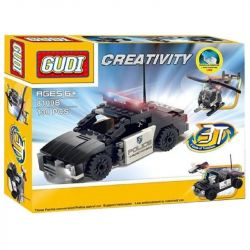 Gudi 8109B Xếp hình kiểu LEGO Creator 3 in 1 Police Patrol Helicopter Interceptor Creative Variety Law Enforcement Car Xe Cảnh Sát Biến Hình Xe Jeep, Trực Thăng 130 khối