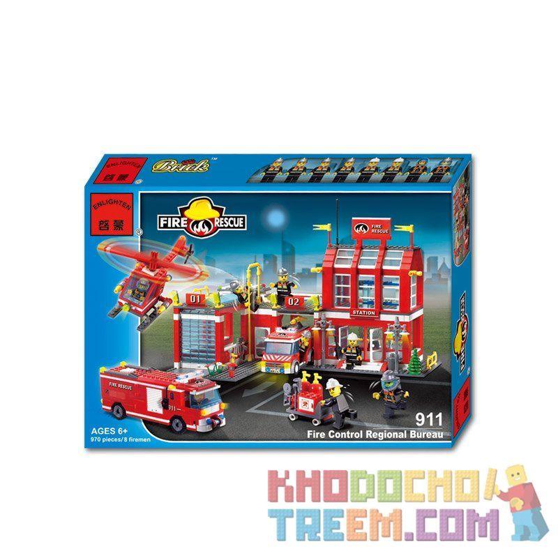 Enlighten 911 Qman 911 Xếp hình kiểu Lego CITY Fire Rescue Fire Control Regional Bureau General Administration Of Fire Trụ Sở Cứu Hỏa Với Trực Thăng Và Xe Thang, Xe Phun Nước Cứu Hỏa 970 khối