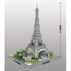 Yz 069 Nanoblock Architecture Eiffel Tower Xếp hình Tháp Eiffel 3369 khối