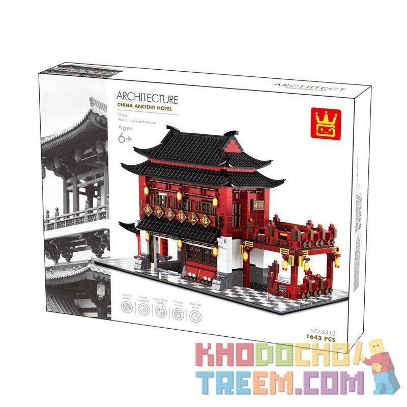 Wange 6312 Xếp hình kiểu LEGO Architecture China Ancient Hotel Khách Sạn Cổ 2038 khối