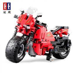 DOUBLEE CADA C51024 51024 Xếp hình kiểu Lego TECHNIC DeTECH Track Motorcycle Xe Mô Tô đua đỏ 484 khối điều khiển từ xa