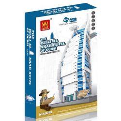 WANGE DR.LUCK 5220 8018 Xếp hình kiểu Lego MINI MODULAR The Burjal Arab Hotel Of Dubai United Arab Emirates Daiwa Sailboat Hotel Khách Sạn Hạng Sang Burjal Arab ở Dubai 1307 khối