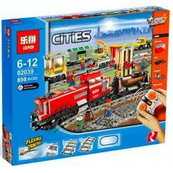 Lepin 02039 (NOT Lego City 3677 Red Cargo Train ) Xếp hình Tàu Hỏa Chở Hàng Màu Đỏ Điều Khiển Từ Xa 831 khối