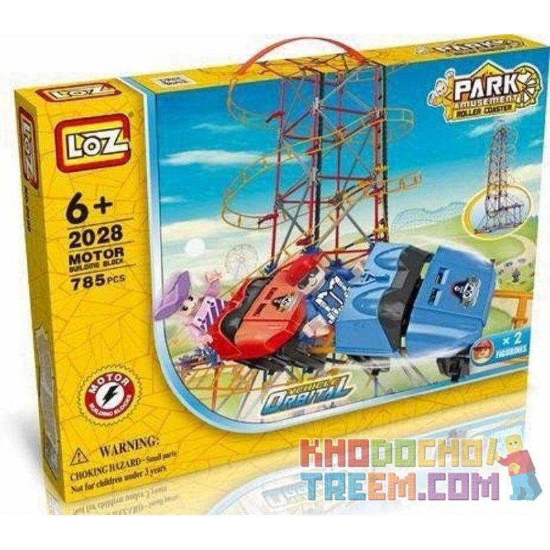Loz 2028 C0002 (NOT Lego Loz Electric Amusement Park Electric Amusement Park Roller Coaster ) Xếp hình Tàu Lượn Siêu Tốc Động Cơ Pin gồm 2 hộp nhỏ 785 khối