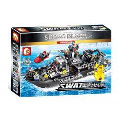 SEMBO 102467 Xếp hình kiểu Lego SWAT SPECIAL FORCE Black Eagle Special Police Patrol Ship Tàu Cảnh Sát Đặc Nhiệm SWAT 864 khối