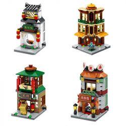 SEMBO SD6096 6096 SD6097 6097 SD6098 6098 SD6099 6099 Xếp hình kiểu Lego MODULAR BUILDINGS nhà hàng đồ ăn chay, cửa hàng vải, phòng luyện võ, nhà hàng đồ nướng. gồm 4 hộp nhỏ 512 khối