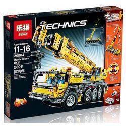 Lepin 20004 (NOT Lego Technic 42009 Mobile Crane Mk Ii ) Xếp hình Cần Trục Tự Hành Động Cơ Pin 2606 khối