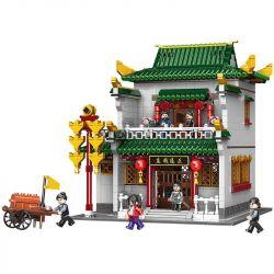 XINGBAO XB-01023 01023 XB01023 Xếp hình kiểu Lego CHINATOWN Banks China Street Zheng Tongzhuang Tiệm Cầm Đồ Trung Hoa 2955 khối