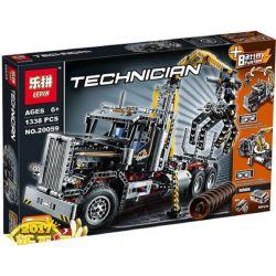 NOT Lego TECHNIC 9397 Logging Truck , LEPIN 20059 Xếp hình Xe Tải Gắp Gỗ 1308 khối có động cơ pin