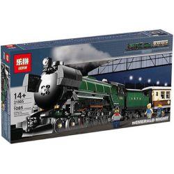 Lepin 21005 King 91005 (NOT Lego Creator Exclusives 10194 Emerald Night Train ) Xếp hình Tàu Hỏa Xanh Ngọc Lục Bảo Chở Khách Có Thể Gắn Động Cơ Pin 1085 khối