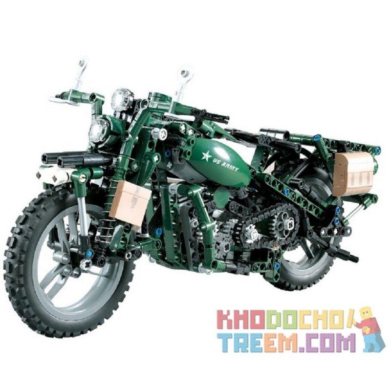 DOUBLEE CADA C51022 51022 Xếp hình kiểu Lego TECHNIC World War II Motorcycle World War II Military Harley Moto Xe Máy Quân Sự Harley 550 khối có động cơ pin