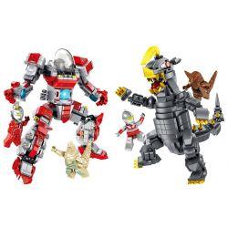 PanlosBrick 690004 690004A 690004B Panlos Brick 690004 690004A 690004B Xếp hình kiểu Lego ULTRAMAN Altman Castantman, Bulk King Siêu Nhân Điện Quang gồm 2 hộp nhỏ 970 khối
