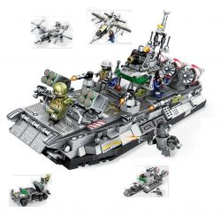 SEMBO 12170 12171 12172 12173 Xếp hình kiểu Lego MILITARY ARMY Naval Clan Haihai War Team Bison Air Conditioner 4in1 Lực Lượng Hải Quân gồm 4 hộp nhỏ 701 khối
