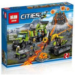 Lepin 02005 Bela 10641 (NOT Lego City 60124 Volcano Exploration Base ) Xếp hình Trạm Nghiên Cứu Núi Lửa 889 khối