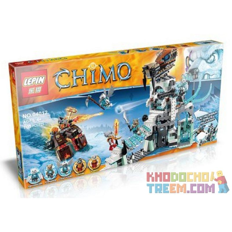 Bela 10296 Lepin 04012 (NOT Lego Legends of Chima 70147 Sir Fangar's Ice Fortress ) Xếp hình Pháo Đài Băng Của Ngài Fangar 670 khối