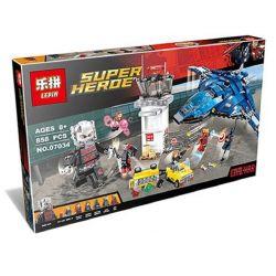 Decool 7123 Jisi 7123 LEPIN 07034 SHENG YUAN SY 583 SY583 Xếp hình kiểu Lego MARVEL SUPER HEROES Super Hero Airport Battle Superhero Airport Wars Trận Chiến ở Sân Bay 807 khối