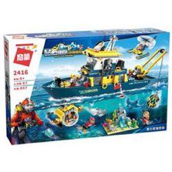 Enlighten 2416 Qman 2416 Xếp hình kiểu Lego KYANITE SQUAD Slim Squad Delta Command Tàu Của đội Chỉ Huy Delta 807 khối