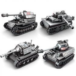 SEMBO 101213 101214 101215 101216 Xếp hình kiểu Lego EMPIRES OF STEEL Steel Empire 4 Quadthrough Tanks, Tiger Heavy Tanks, Hunting Tiger, Hunting Tiger 4 Xe Tăng Kết Hợp Thành 1 Xe Tăng Lớn gồm 4 hộp